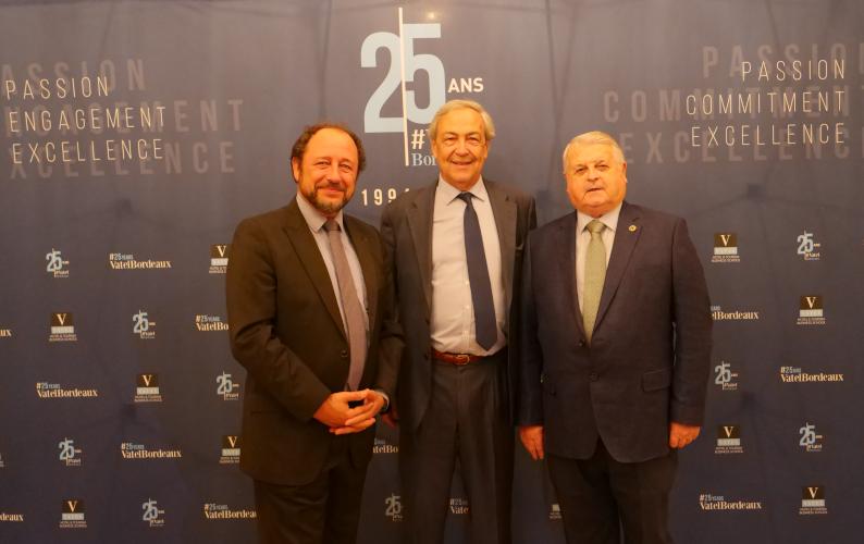 Vatel Bordeaux - De gauche à droite : Mr Philippe FRANÇOIS (Président de l'AMFORHT) ; Régis Glorieux (Président & Co-fondateur de Vatel Bordeaux) ; Luis LEZAMA DE BARAÑANO (Président d'Eurhodip)