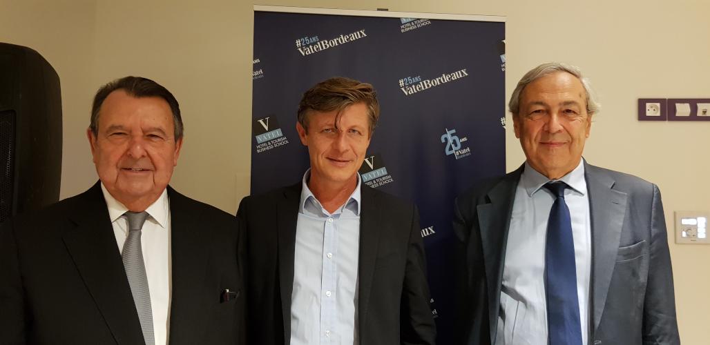 Vatel Bordeaux - de gauche à droite Mr Alain SEBBAN-Président fondateur du Groupe Vatel ; Mr Nicolas FLORIAN - Maire de Bordeaux ; Régis Glorieux - Président & Co-fondateur de Vatel Bordeaux.
