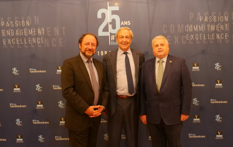 Vatel Bordeaux - Left to right : Mr Philippe FRANÇOIS (President of AMFORHT) ; Régis Glorieux (President & Co-founder of Vatel Bordeaux) ; Luis LEZAMA DE BARAÑANO (President of Eurhodip)
