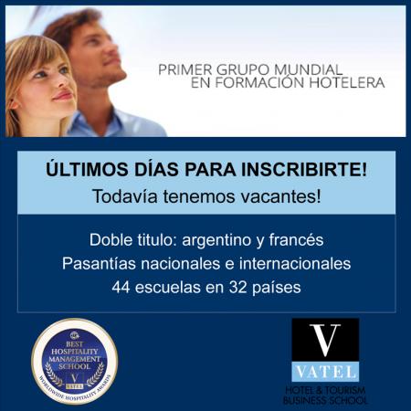 Vatel Argentina Últimos cupos, últimos días de inscripción