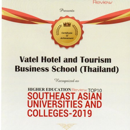Vatel Thailand recognized as a Top 10 University / College in South East Asia - Vatel