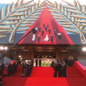 Climbing up the steps at Cannes