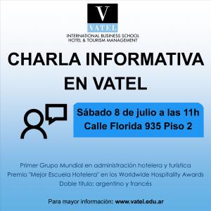 Vatel Argentina Charla informativa en Vatel este sábado 08/07 a las 11h